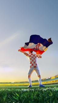 Футболист после чемпионата по игре победитель держит флаг хорватии. стиль многоугольника