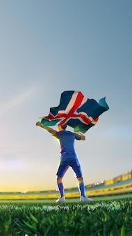 Футболист после чемпионата по игре победитель держит флаг исландии. стиль многоугольника