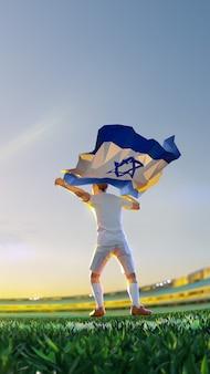 Футболист после чемпионата по игре победитель держит флаг израиля. стиль многоугольника