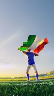 Футболист после чемпионата игры победителя держит флаг италии. стиль многоугольника