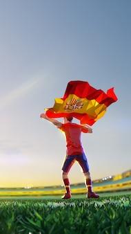 Футболист после чемпионата по игре победителя держит флаг испании. стиль многоугольника