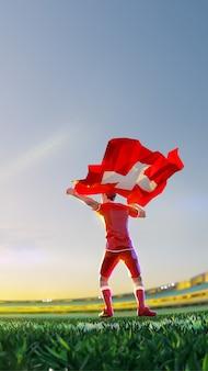 Футболист после чемпионата по игре победитель держит флаг швейцарии. стиль многоугольника