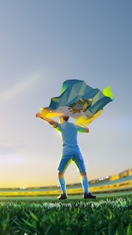 Soccer player after winner game championship hold flag of san marino. polygon style