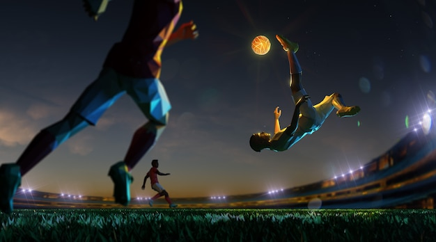 Soccer player in attack night stadium and light ball. polygon style