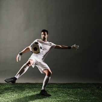 Soccer player crossing ball