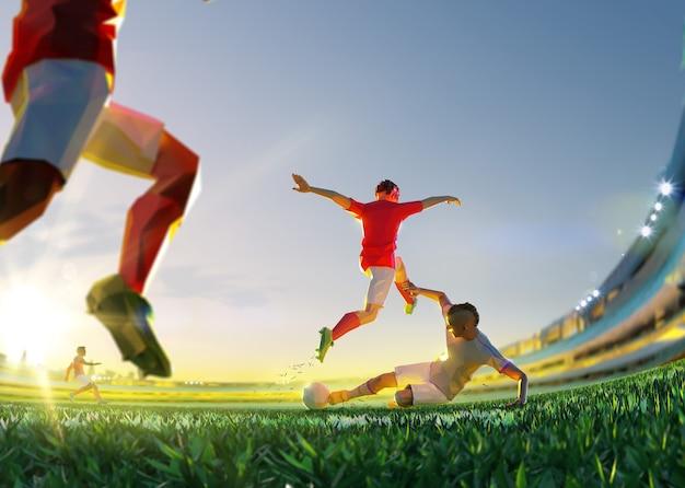 Футболист в атаке. стиль многоугольника