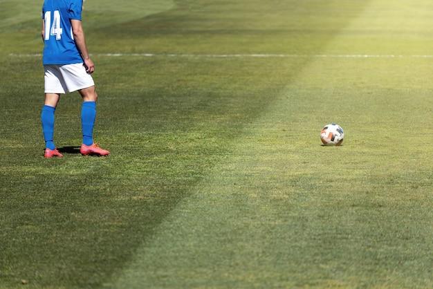 自然の芝生のピッチでボールから数メートル離れたところにフリーキックをする準備ができているサッカー選手