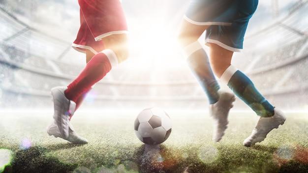 アクションのサッカー選手。中堅手にサッカーボール。動いているスタジアムで2人のサッカー選手。スタジアム