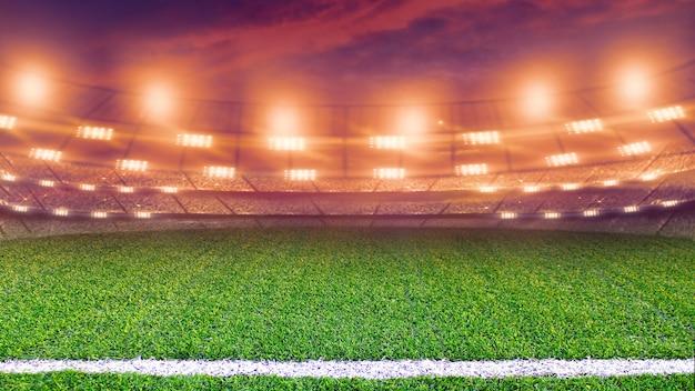 夜のサッカースタジアム。空の緑の芝生フィールドと明るいスポットライト。 3dレンダリング