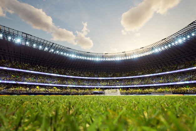 サッカースタジアムの焦点ぼけの背景イブニングアリーナと群衆のファンdイラスト