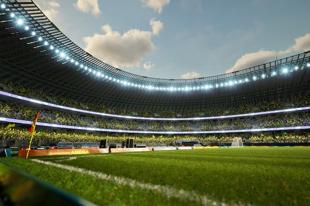 群衆のファンの3dイラストとサッカースタジアムのイブニングアリーナ。高品質の3dイラスト