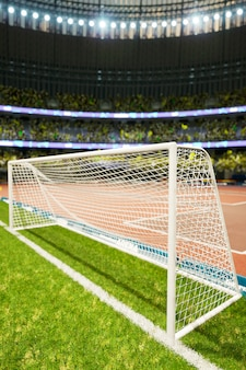 Soccer stadium evening arena with crowd fans 3d illustration. high quality 3d illustration