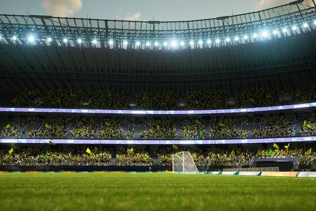 観客のファンとサッカースタジアムのイブニングアリーナdイラスト