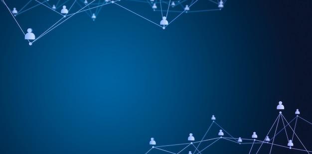 社会的つながりまたはビジネスコミュニケーション。青い背景の連絡先のネットワーク。 3dレンダリング