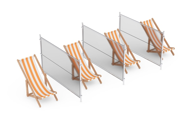 Social distance on the beach concept. beach relax chairs with glass liners on a white background. 3d rendering
