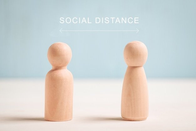 Social distance concept - abstract figures of people.