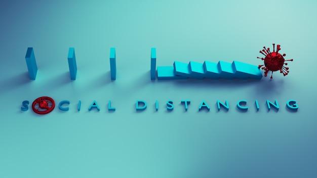 社会的距離の概念。ドミノ効果を停止するためのメタファーとしての安全な距離は、社会的距離を使用してcovid-19コロナウイルスの拡散を停止することにより、拡散を防止します。3dレンダリング。