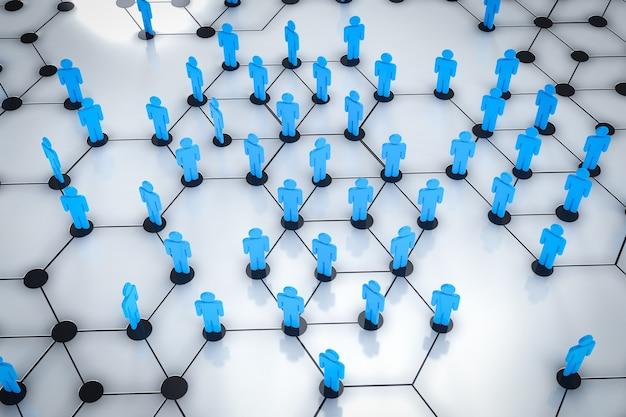 Концепция социальной дистанции с 3d-рендерингом, люди сохраняют пространство друг для друга