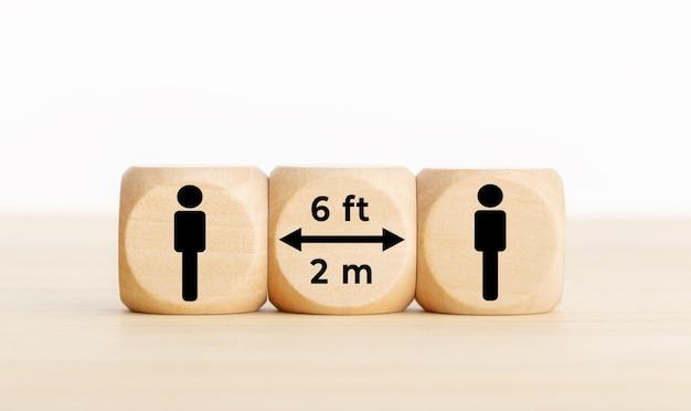 コロナウイルスcovid-19パンデミックに関する社会的距離概念。人間のアイコンと机の上のテキストと木製のブロック。コピースペース
