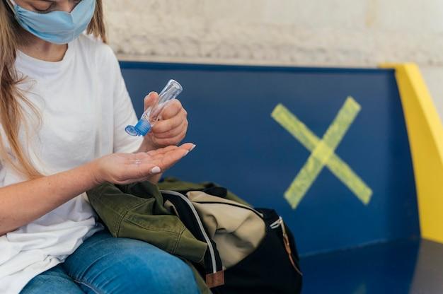 Social distancing concept in public areas