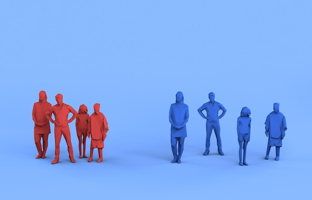 Социальное дистанцирование семья сохраняет безопасное расстояние 3d-рендеринг