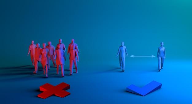 Социальное дистанцирование концепции здравоохранения 3d визуализации