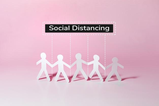カラフルな背景の社会的距離図