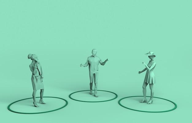 Социальное дистанцирование людей в неформальной беседе на безопасном расстоянии 3d-рендеринг