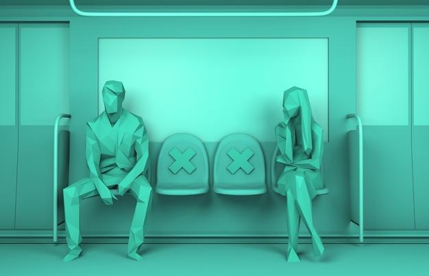 安全な距離を維持しながら地下鉄に座っている人々の社会的距離3dレンダリング