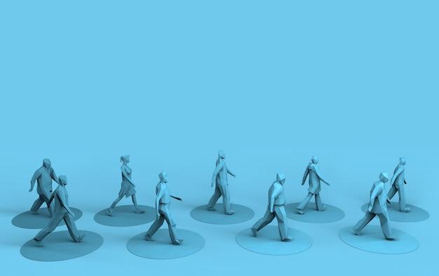 Социальное дистанцирование люди, идущие на безопасном расстоянии, 3d визуализация