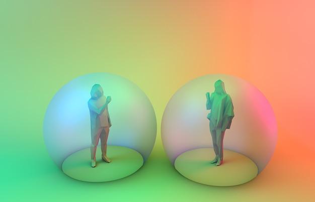 Социальное дистанцирование два человека сохраняют безопасное расстояние внутри пузырей 3d-рендеринга