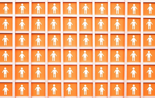 Social distancing with icon of many people in square