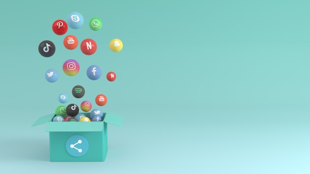 Social media 3d design with box popping up various icons