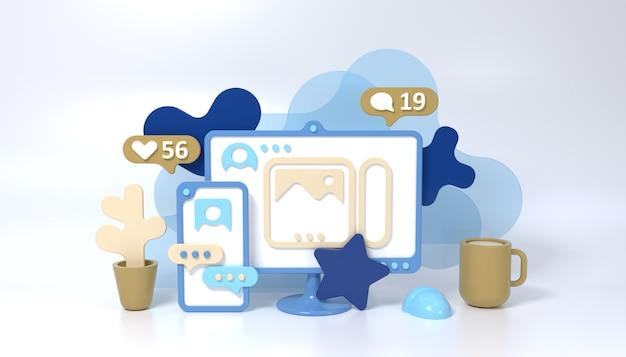 스마트 폰, 컴퓨터, 컵, 꽃과 소셜 미디어 3d 스타일 컨셉 일러스트