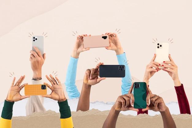 스마트폰 리믹스 미디어를 통해 촬영하는 소셜 미디어 청중 군중