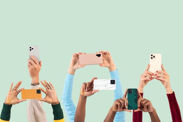 Social media audience crowd filming through smartphones