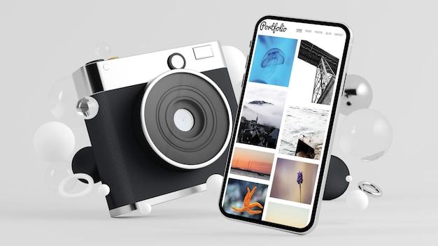 ポートフォリオの3dレンダリングを示すソーシャルメディアカメラとスマートフォン