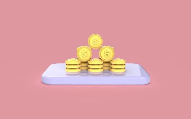 ソーシャルメディアコインデジタルマーケティングコンセプト3dレンダリングディスプレイ