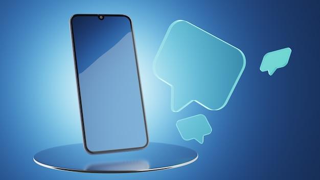 소셜 미디어 커뮤니케이션 개념입니다. 휴대전화의 메신저. 3d 렌더링.