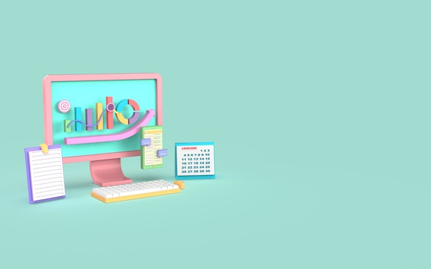 Социальные медиа компьютерный цифровой маркетинг гистограмма концепция 3d-рендеринга