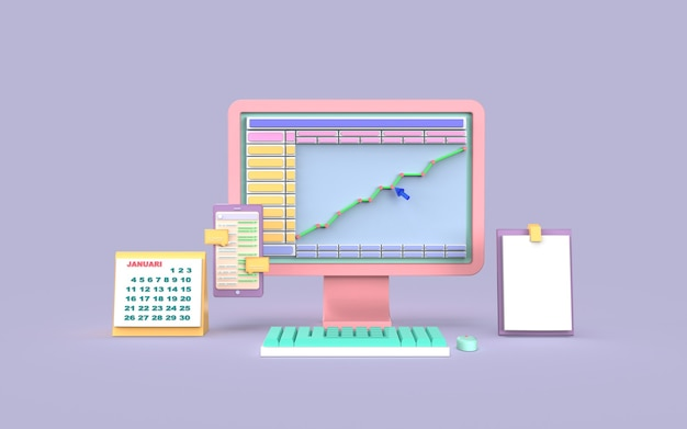 ソーシャルメディアコンピューターデジタルマーケティング棒グラフの概念3dレンダリング
