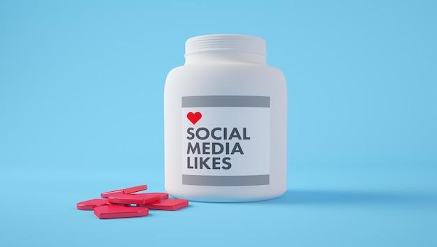 ソーシャルメディアの概念。ピルのコンセプトのようなハート型のボトル。 3dレンダリング。