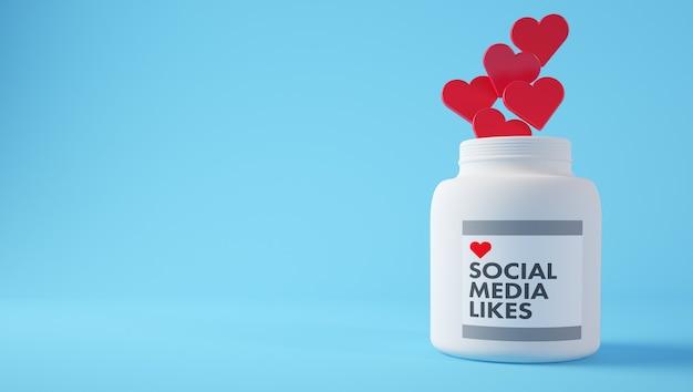 ソーシャルメディアの概念:医療ボトルのハート型の丸薬。 3dレンダリング。
