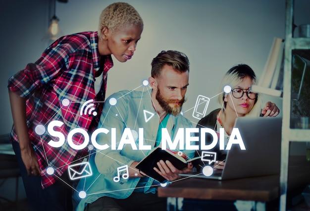 Social media connection graphics concept