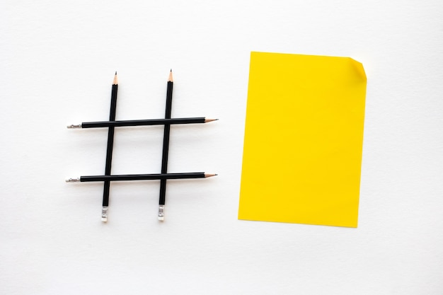 Social media and creative concepts with hashtag sign made of pencil