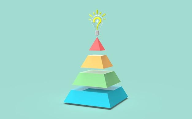 ソーシャルメディアデジタルマーケティング棒グラフアイデアピラミッドコンセプト3dレンダリング