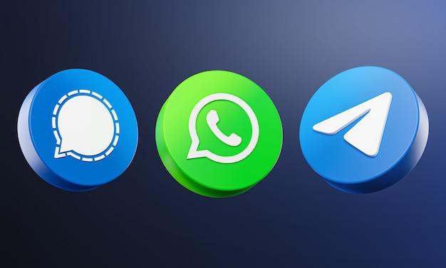 Социальные медиа значок 3d на темном фоне.