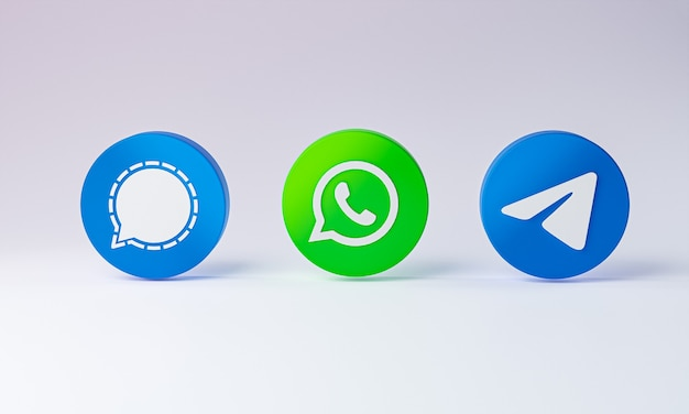 Social media icon 3d on white background.