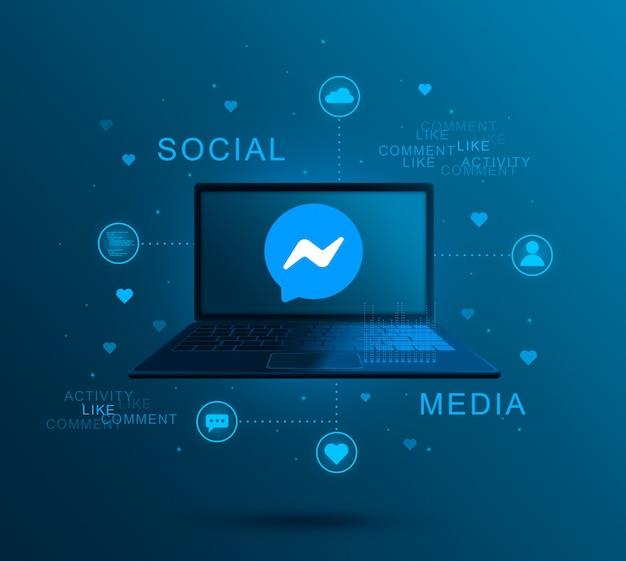 노트북 화면에 소셜 미디어 아이콘 메신저