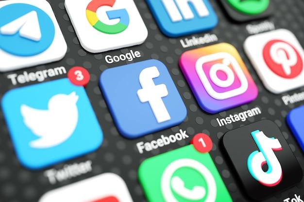 携帯電話の画面3d上のソーシャルメディアのアイコンとロゴ